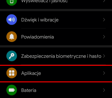 Ustawienia Android - Aplikacje