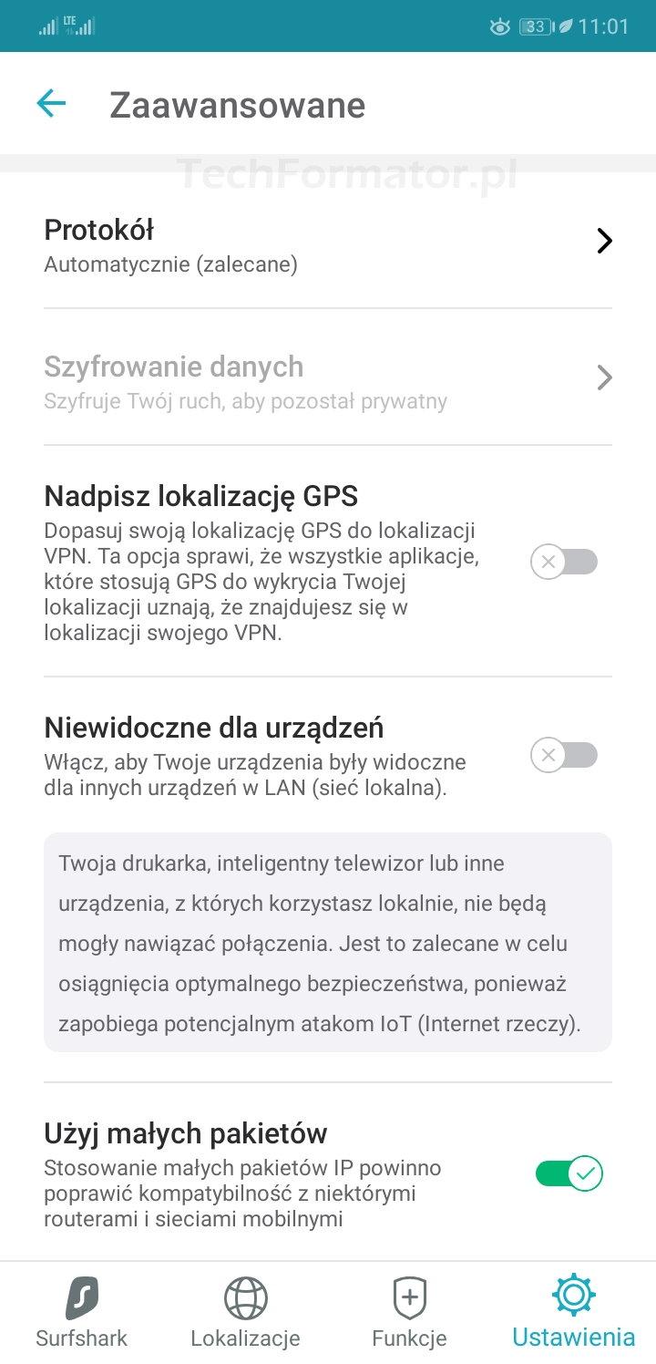 Ustawienia zaawansowane Surfshark VPN na smartfonie